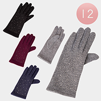 12Pairs - Tiny Stones Fur Lining Touch Gloves