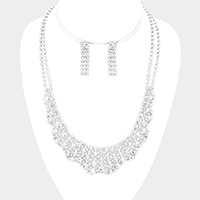 Curved Wavy Pave Crystal Rhinestone Necklace