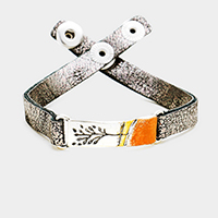 Branch Metal Rectangle Painted Snap Button Bracelet
