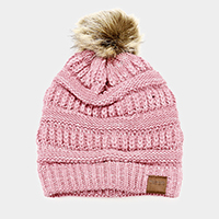 Soft Cable Knit Faux Pom Pom Winter Beanie