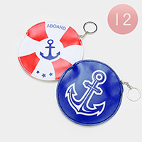 12PCS - Anchor Print Circle Zipper Coin Purses