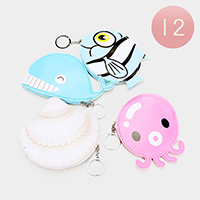 12PCS - Sea Life Characters Zipper Coin Purses