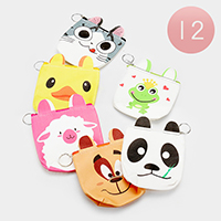 12PCS - Animals Character Zipper Coin Purses