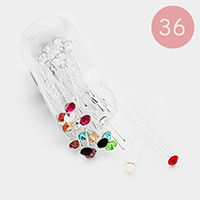 36PCS - Round Stone Mini Hair Comb Pins