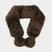 Faux Fur Double Pom Pom Scarf