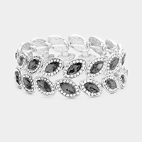 Pave Trim Oval Crystal Evening Stretch Bracelet