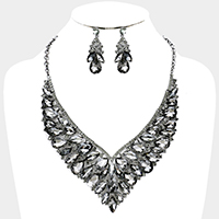 Marquise Glass Crystal Cluster Vine Statement Necklace