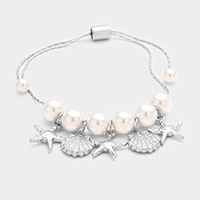 Pearl Metal Starfish Shell Charms Bracelet