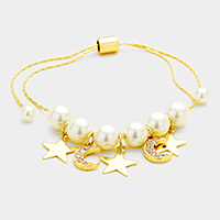 Pearl Metal Star Moon Charms Bracelet