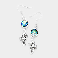 Stone Metal Seahorse Dangle Earrings