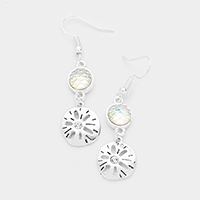 Stone Metal Sand Dollar Dangle Earrings