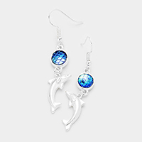 Stone Metal Dolphin Dangle Earrings