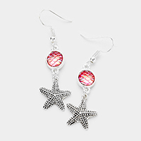 Stone Metal Starfish Dangle Earrings