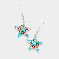 Rhinestone Starfish Dangle Earrings