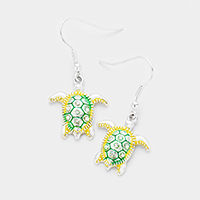 Rhinestone Turtle Dangle Earrings