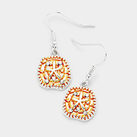 Rhinestone Sand Dollar Dangle Earrings