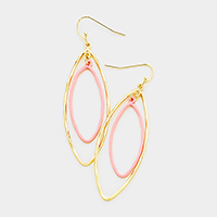 Double Oval Hoop Dangle Earrings