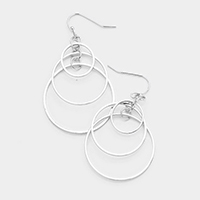 Layered Metal Hoop Dangle Earrings