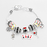 Multi Bead Card Suits Charms Bracelet