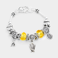 Multi Bead Wings Heart Charms Bracelet
