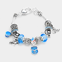 Multi Bead Police Theme Charms Bracelet