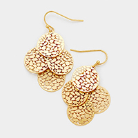 Layered Filigree Metal Disc Dangle Earrings