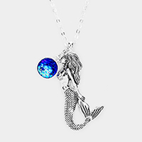 Stone Metal Mermaid Pendant Long Necklace