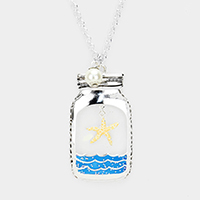 Enamel Starfish Metal Jar Pendant Long Necklace