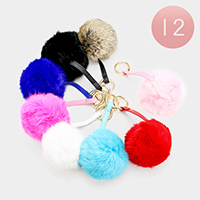 12PCS - Genuine Fur Pom Pom Keychains
