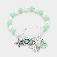 Pearl Beaded Metal Starfish Mermaid Charms Stretch Bracelet