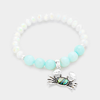 Beaded Abalone Crab Charm Stretch Bracelet