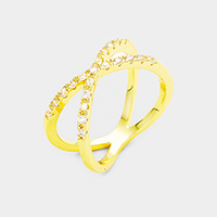 14K Gold Plated Pave CZ Crisscross Ring