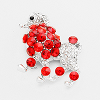 Pave Glass Crystal Poodle Pin Brooch / Pendant