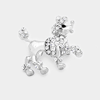 Pave Crystal Poodle Pin Brooch / Pendant