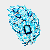 Oversized Pave Glass Crystal Floral Pin Brooch
