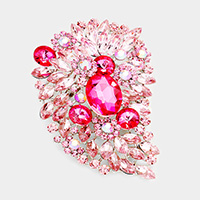 Oversize Pave Crystal Triple Flower Pin Brooch