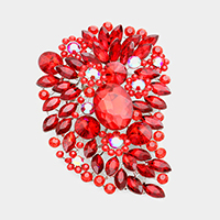 Oversize Multi Stone Floral Pin Brooch