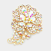 Oversize Pave Crystal Flower Pin Brooch