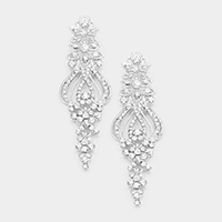 Pave Bubble Crystal Marquise Evening Earrings