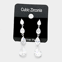 Layered Cubic Zirconia Teardrop Dangle Earrings