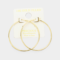 14K Gold Filled Metal Hoop Hypoallergenic Pin Catch Earrings