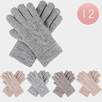 12Pairs - Cable Knit Fleece Lining Gloves