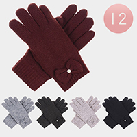 12Pairs - Cable Knit Bow Detail Fleece Lining Gloves