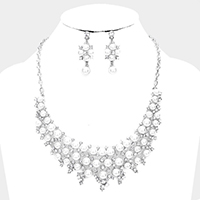Curved Pearl Stone Cluster Vine Statement Necklace