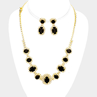 Pave Trim Marquise Rhinestone Necklace