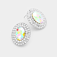 Pave Rhinestone Trimmed Oval Stone Stud Earrings