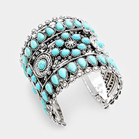 Tribal Turquoise Metal Cuff Bracelet