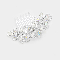 Pave Crystal Rhinestone Leaf Pearl Accented Hair Comb