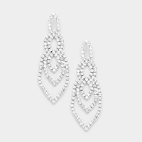 Pave Crystal Rhinestone Statement Evening Earrings