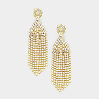 Pave Crystal Rhinestone Fringe Statement Evening Earrings